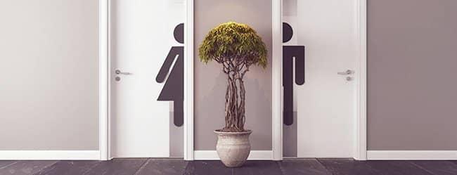 Typisch Mann typisch Frau das sind die gezeigten WC-Türen Mann und Frau