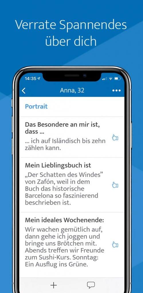 ElitePartner Profil Ausschnitt auf dem Handy